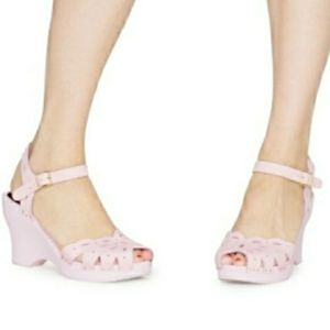 Swedish HASBEENS Flora leather wedge pink sandals